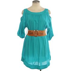 Turquoise Blue Open Should Dress   Belted Turquoise Western Dress found on Polyvore