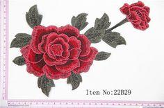 1 pièce rouge Roses tatouage Biker brodé Applique fer sur Patch, tissu Rose…