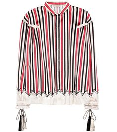Etro - Striped silk shirt - Etro's shirt has been crafted in Italy from pure silk for luxurious sheen. The relaxed-fit piece is incredibly smooth to touch and is finished with bohemian tassels at the cuffs. Work yours with billowing maxi skirts or downtime denim. seen @ www.mytheresa.com