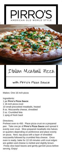 A delicious Italian pizza complete with meatballs and Pirro's Pizza Sauce. #meatballs #pizza #pirrossauce #italian