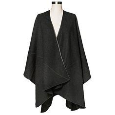 Women's Wool Ruana Wrap with Leather Trim Black - Merona�