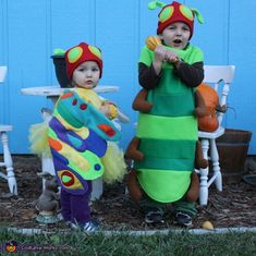 My Son is wearing the Very Hungry Caterpillar costume and My Daughter is wearing the Beautiful Butterfly Costume. My son said he wanted to be Caterpillar for Halloween and I searched at many stores and online to fine only 1 that I like but was. Character Halloween Costumes, Clever Halloween Costumes, Halloween Costume Contest, Halloween Tricks, Halloween Ideas, Costume Ideas, Literary Costumes, Book Costumes, Purim Costumes