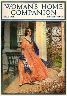 "๑ Nineteen Fourteen ๑ historical happenings, fashion, art & style from a century ago - ""Woman's Home Companion"" magazine - May 1914 - Cover by John Rae Vintage Labels, Vintage Ads, Vintage Posters, Old Magazines, Vintage Magazines, Fashion Cover, Fashion Art, Magazine Front Cover, Magazin Covers"