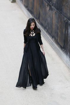 Black long dress, alternative style, goth dress, beauty