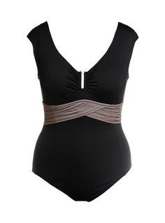 Cap Shoulder One Piece Swimsuit Black