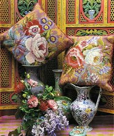 Kaffe Fassett pillows--Sumatra and Java at Ehrman Tapestry.