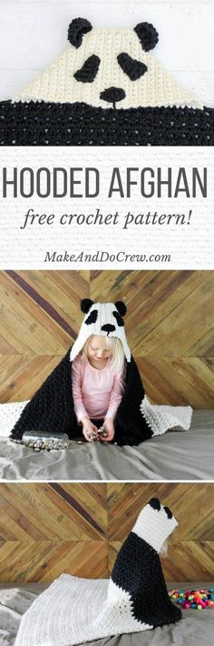 This free crochet panda hooded baby afghan pattern is a perfect DIY baby shower gift idea or older sibling gift. Customize to make a crochet koala or polar bear too! #crochetafghans
