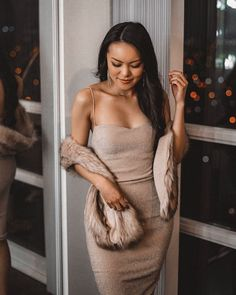 sparkling bodycon dress with sweetheart neckline and faux fur wrap Faux Fur Wrap, Personal Style, Shoulder Dress, Bodycon Dress, Neckline, My Style, Dresses, Fashion, Vestidos