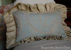 Double Ruffled Linen Pillow   Beyond the Screen Door