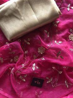 Organza and designer embroidered sarees – VIKA Boutique Shiffon Saree, Jamdani Saree, Embroidery Suits, Beaded Embroidery, Engagement Saree, Saree Floral, Bridal Hairdo, Saree Trends, Organza Saree