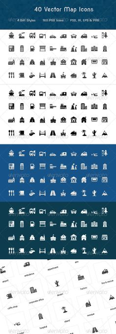 Map Symbols Icons  #GraphicRiver         40 Vector Map Symbol Icons  160 named PNG Icons  4 Diff style PSD   AI & EPS Files Included  Well arranged PSD   Easy to customize layer styles  Fully re-sizable vector icons     Created: 22August12 GraphicsFilesIncluded: PhotoshopPSD #TransparentPNG #VectorEPS #AIIllustrator Layered: No MinimumAdobeCSVersion: CS3 PixelDimensions: 32x32 Tags: 32x32px #geo #location #mapicons #mapsymbols #places #transportation #travel #vectoricons