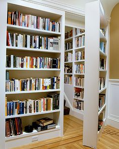 Nook amid books    This hidden staircase leads to a third-floor sitting area and study inside this San Francisco home. The staircase wall offers continuity by continuing the bookshelves up to the next level. The door moves slowly so the books do not fall out.