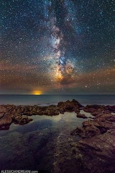 """The night sky over the Mar Tirreno (italy), Tyrrhenian Sea in english, The orange light in the background come from the island of Ponza. Get in touch:   <a href=""""http://www.facebook.com/AlessioAndreaniPhotography"""">FB Page</a> // <a href=""""http://www.alessioandreani.com"""">Website</a> // <a href=""""http://www.alessioandreani.com/buy-print"""">Buy Fine Art Prints</a>  // <a href=""""http://www.alessioandreani.com/workshop"""">Workshop</a> For use in website, <a…"""