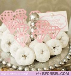 A girl's 2 best friends- Donuts and Diamonds #weddings #ideas #bachelorette @Kelsey Myers Myers Weinschenk yuuuuum