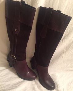 Naturalizer 'Dandy' Brown Leather & Suede Knee High Zip Riding Boots Women's  | eBay