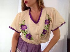 Vintage Blouse | Mexican | Embroidered | Top | Purple | Knit | Authentic | Spanish | Day of The Dead by VampRodeoVintage on Etsy