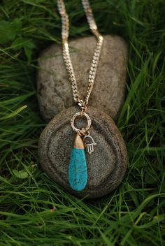 Real Turquoise Hamsa long Necklace