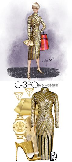These Star Wars DisneyBound Sketches Are Out of This World - Star Wars Shoes - Ideas of Star Wars Shoes - style from Disneybound's Leslie Kay and artist Matthew Simpson! Star Wars fashion never looked so gold er we mean good. Star Wars Outfits, Disney Bound Outfits, Mom Outfits, Cute Outfits, Disney Inspired Fashion, Disney Fashion, Sith Costume, Star Wars Shoes, Estilo Disney