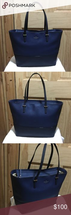 "♠️Kate Spade♠️Cedar Street Medium Harmony Tote ♠️Kate Spade♠️Cedar Street Medium Harmony Tote (Royal and Navy Blue Colors)  Good condition.Crosshatched saffiano leather.Over the shoulder bag with zip top closure.Interior and exterior are clean.No damage,No rips,and No tears.Two flat handdles are good condition.Roomy interior big enough for lap top work and school.This bag make your daily activities easy and stylish.Came from a smoke free and pet free home.  Size: 12.9"" W x 11.1"" H x 6.4"" D…"