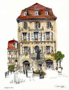 Chris Lee (artist of the wobbly), Beaulieu-sur-Dordogne. Every wobbly drawing is done on location, no photos, no erasers, no rulers (that's obvious). Pen, pad, and close proximity to a decent pub. Plus the very unpredictable three legged stool. Perfect conditions.