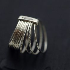 10 Candy twists silver stacking rings by Mini Cyn