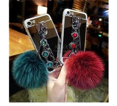 Phone Cases For Samsung Galaxy S6 S6 Edge S7 S7 Edge Fashion Luxury Metal Rope Mirror TPU Cute Rabbit Fur Ball Cover  #New #Buy #Trend #Sale #Discount #Hot