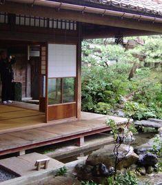 Japanese garden with koi pond. Shimabara, Nagasaki