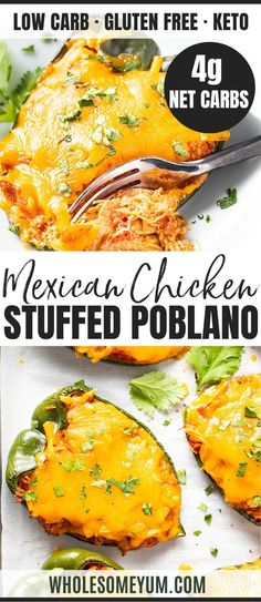 Feb 2020 - Keto Mexican Cheese & Chicken Stuffed Poblano Peppers Recipe - See how to make Mexican keto stuffed poblano peppers with simple ingredients, in just 30 minutes! This cheesy chicken stuffed poblano peppers recipe is full of taco flavors. Ketogenic Recipes, Low Carb Recipes, Healthy Recipes, Healthy Drinks, Ketogenic Diet, Easy Recipes, Mexican Food Recipes, Real Food Recipes, Cooking Recipes