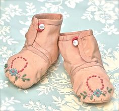 Vintage Baby Booties Pink Silk Embroidered