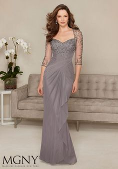 Evening Gowns and Mother of the Bride Dresses by MGNY Beading on Stretch Mesh Colors: Charcoal, Champagne, Azure.