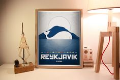 Reykavik. Iceland. Poster. Wall decor art. Illustration. Digital print. City. Whale. Travel. 15,75x19,69 inch