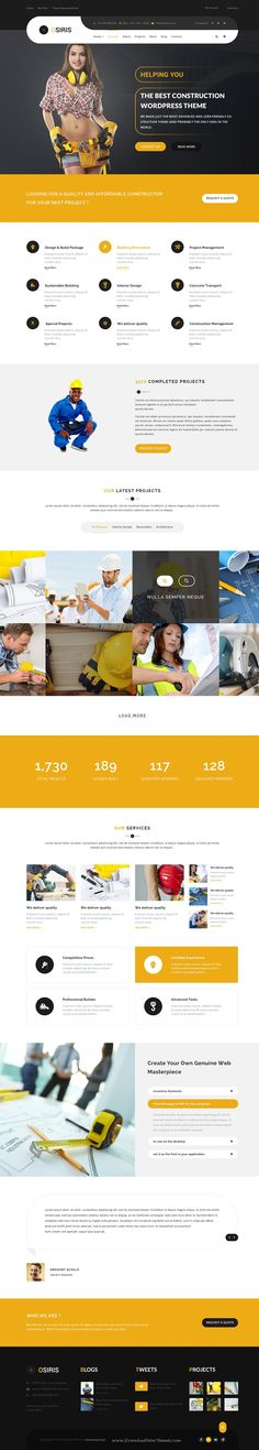 Osiris premium PSD Template can be used for any type of #construction #websites. It has 6 homepage layouts and 19 fully layered #PSD files.