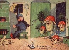 Happy mushrooms visit little boy