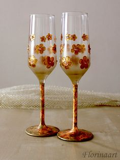 Wedding Glasses Personalized Wedding Glasses by Florinaart on Etsy