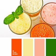 2016, anaranjado, anaranjado vivo, color batido de leche rosado, color licuado de plátano, color verde menta, color zumo de zanahoria, color zumo fresco de zanahoria, elección del color, rosa pastel, verde y anaranjado.