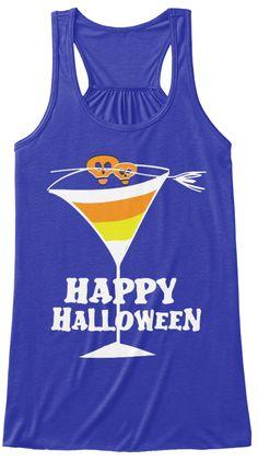 Halloween Candy Corn Martini Tank Top True Royal T-Shirt Front