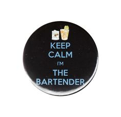 Keep Calm I'm The Bartender Button Badge Pin by AlienAndEarthling