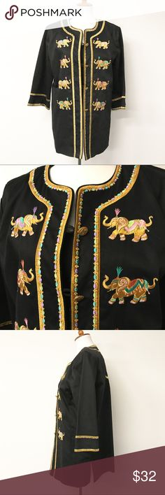 """Bob Mackie Wearable Art Embroidered Elephant Coat Beautiful embroidered elephant jacket from Bob Mackie Wearable Art! Oriental style collar and gold buttons with loops. Wide 3/4 length sleeves. Side vents. Super cool, funky and unique style! New with tags, never worn. Undamaged. Smoke and pet free home. Measurements taken laid flat. 22"""" armpit to armpit. 22"""" waist. 31"""" long shoulder to hem. 18"""" long sleeves. Bob Mackie Jackets & Coats"""