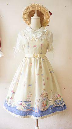 Short Notice: Only ★Light Yellow★ & ★Navy Blue★ Bunnies Tea Party Jumper Dresses Available >>> http://www.my-lolita-dress.com/honey-honey-bunnies-tea-party-high-waist-lolita-jumper-dress-hh-5
