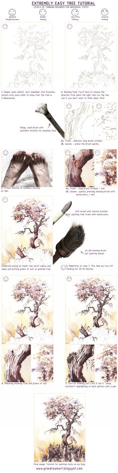 Extremely Easy Tree Tutorial by GrimDreamArt.deviantart.com