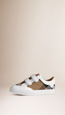 House Check and Leather Trainers White