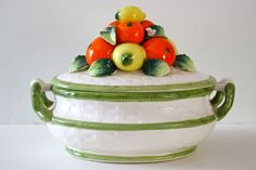 Vintage Ceramic Soup Tureen with Oranges and Lemons