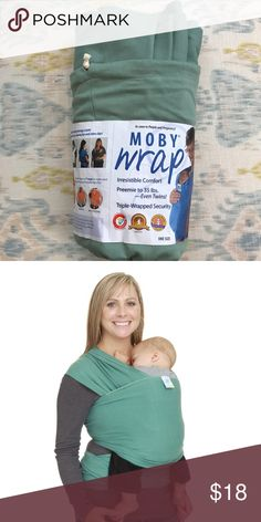Moby Wrap Moss EUC 🤰🏻 EUC!  The Moby Wrap baby carrier is amazingly comfortable and easy to wear! The design of the Moby Wrap uses your entire back, as well as your shoulders, to carry the weight of your baby.  Moby Wrap is a wide piece of fabric that is wrapped over both shoulders and tied on your waist. No buckles, snaps or other fasteners which make wearing simple. The Moby Wrap is long enough to fit all sizes of baby wearers and babies - preemie to 35 lbs. Machine washable. Holds up to…