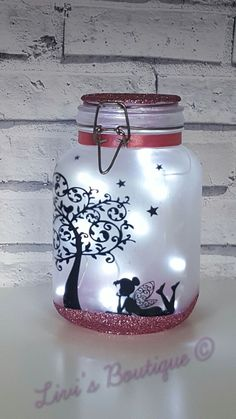 Silhouette lighted jar. Loves the idea but with different silhouette theme.
