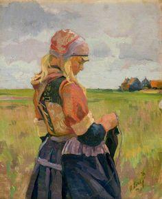 Willem Maris - Jong Meisje in een Landschap