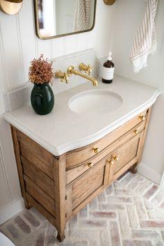 Brick Bathroom, Bathroom Renos, Bathroom Flooring, Bathroom Ideas, Bead Board Bathroom, Washroom, Bathroom Wall, Upstairs Bathrooms, Downstairs Bathroom