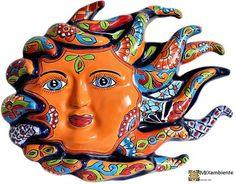 Mexikanische Sonne Keramiksonne Mexiko Sonne Talavera Sonne von Mexambiente zum Aufhängen an der Wand #deko #bunt #mexikanisch #kunsthandwerk