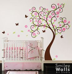 Tree Wall Decal Wall Sticker children wall decal  - Curly Flower Tree with Butterflies - Nursery Vinyl Wall Decal
