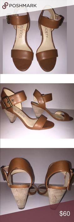 Sole Society Cognac Block Heel Sandals 6.5 Gently worn twice. In great condition. Cognac Block Heel sandals. Size 6.5. Heel 3in. Sole Society Shoes Sandals