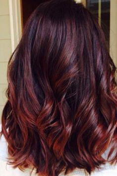 Bayalage red ombre dark hair